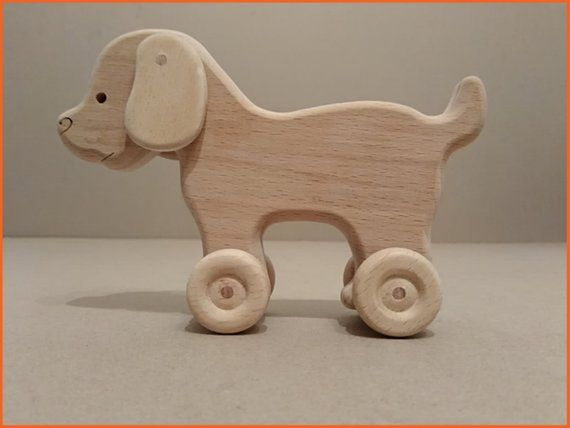 Toy Wooden Dog On Wheels Toy For Baby Ecological Gift For A