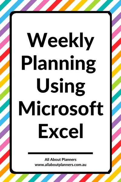 weekly planning using microsoft excel tutorial organization - microsoft weekly planner