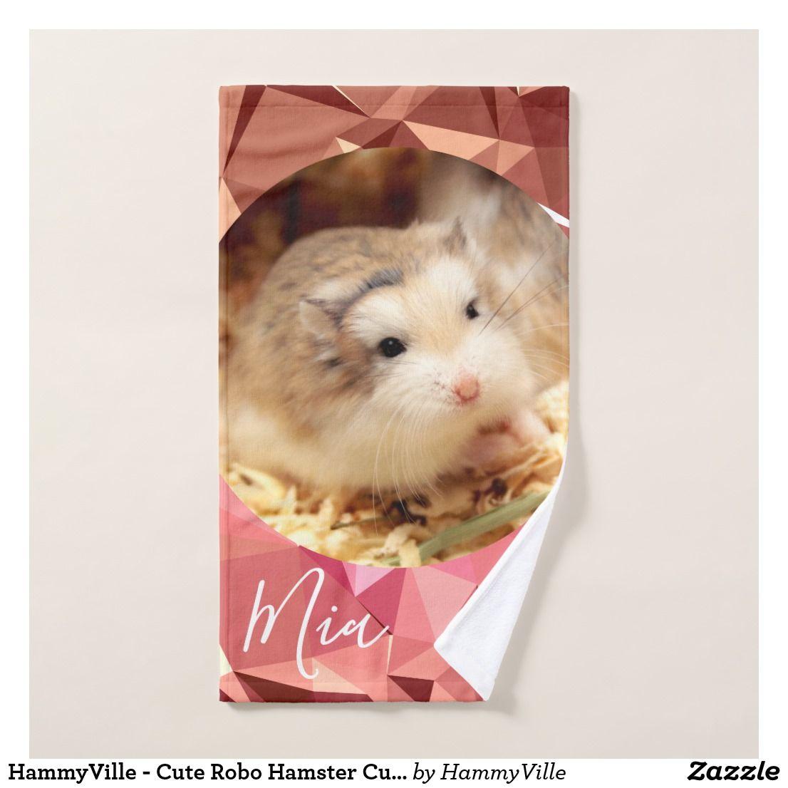 Hammyville Cute Robo Hamster Customize Name Bath Towel Set