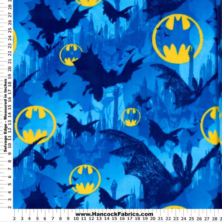 Batman Bats And Symbols Blue Fleece Fabric Superheros Pinterest