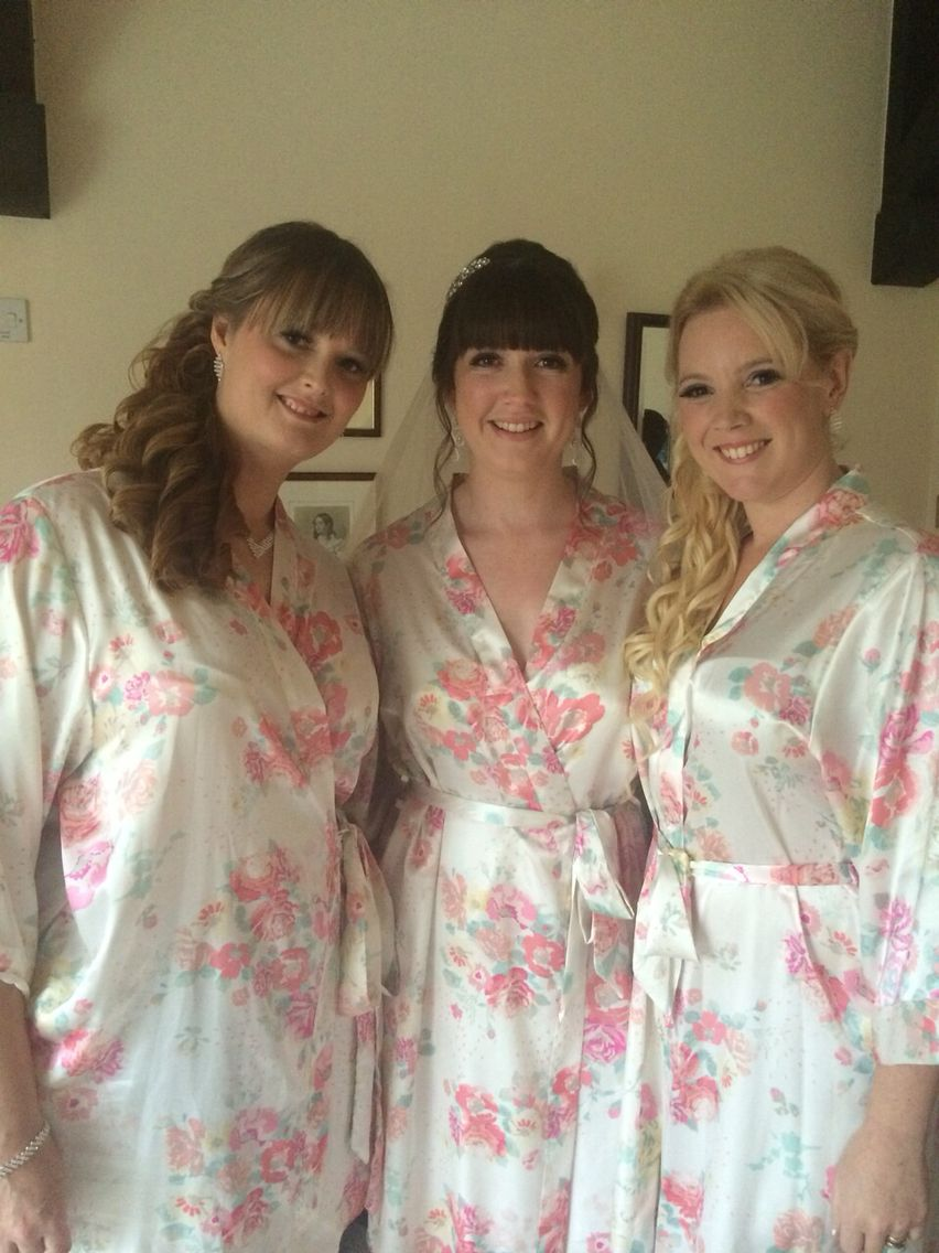 Bride and bridesmaid Makeup with false strip lashes flawless and pretty