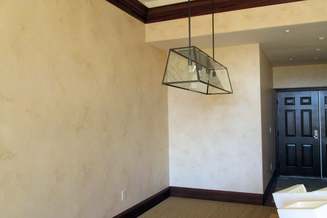 Glazed walls to have the look of venetian plaster.