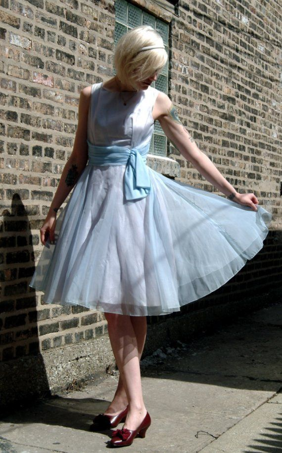 1950's Vintage Cinderella Light Blue Cocktail Dress (With ...