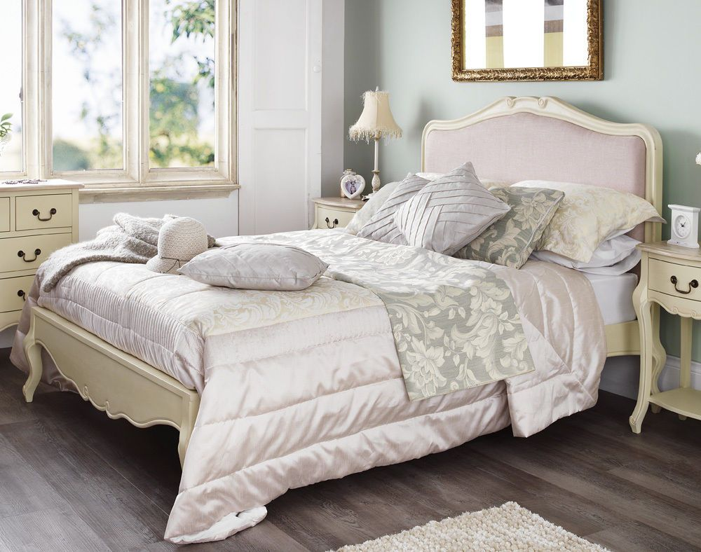 Juliette Shabby Chic Champagne Upholstered King Size Bed 5ft French Cream Painted Bedroom Furniturediy