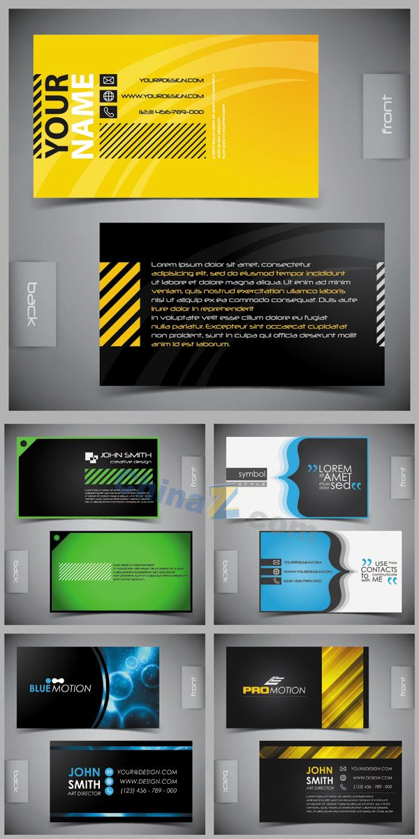 bright creative business cards design vector material for