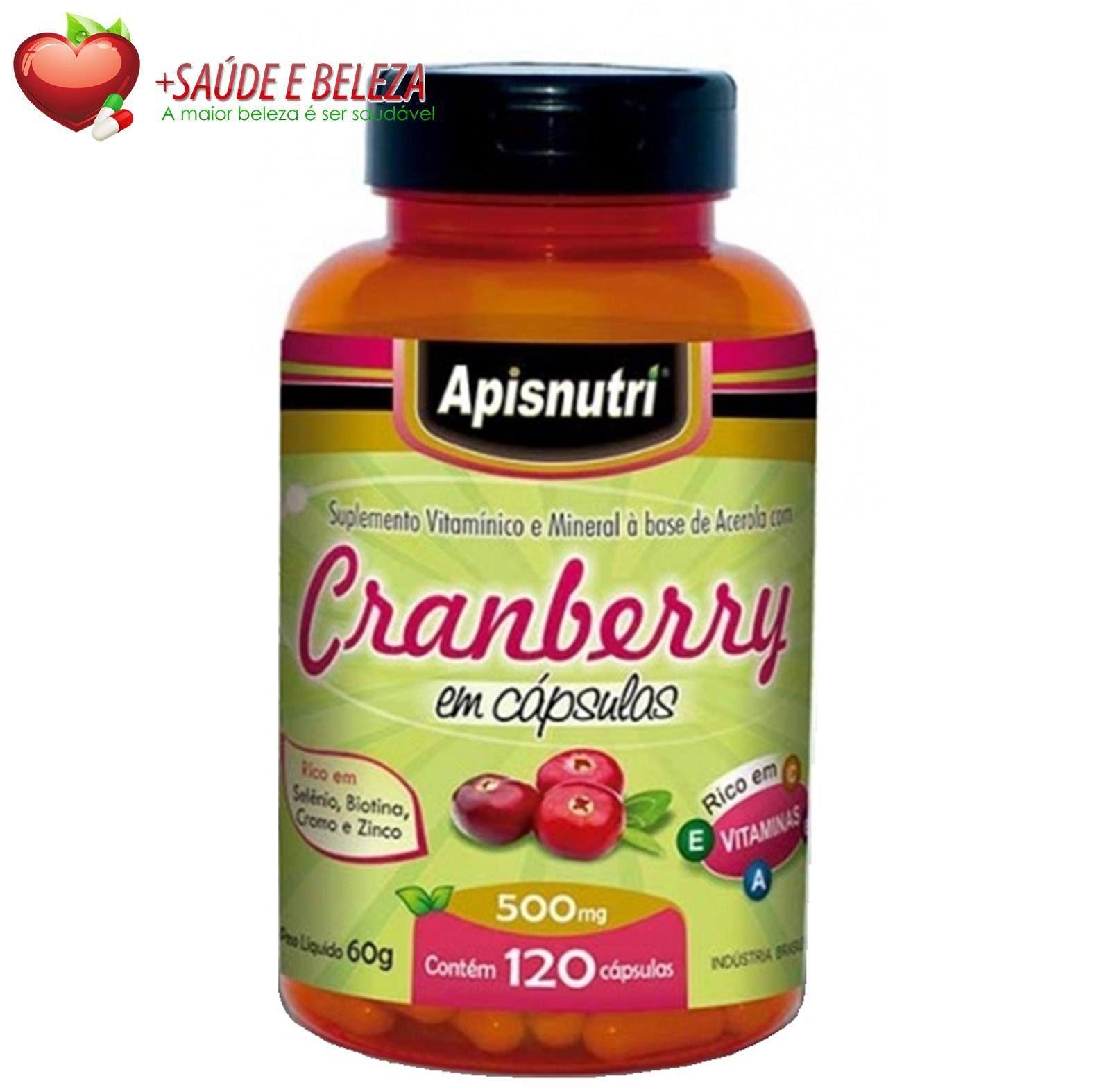 Cranberry tem como uma de suas principais características a ação antioxidante neutralizando os prejudiciais radicais livres protegendo assim nosso organismo.  Alem de tudo isso o Cranberry e extremamente rico em fibras, manganês e vitaminas C, K e E. http://www.maissaudeebeleza.com.br/p/373/cranberry-apisnutri-500mg-c120-capsulas?utm_source=google+&utm_medium=link&utm_campaign=cramberry&utm_content=post