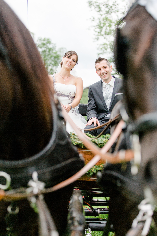 Portrait von Braut und Brutigam auf einer Pferdekutsche