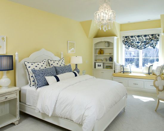 love the blue & yellow. bedroom design, pictures, remodel