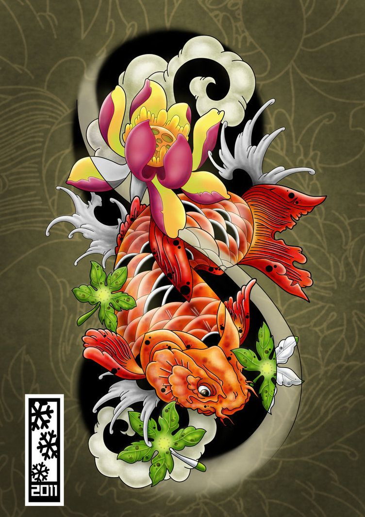 Koi tattoo flash art by tylerrthemesmer tattoo me for Koi japanese art