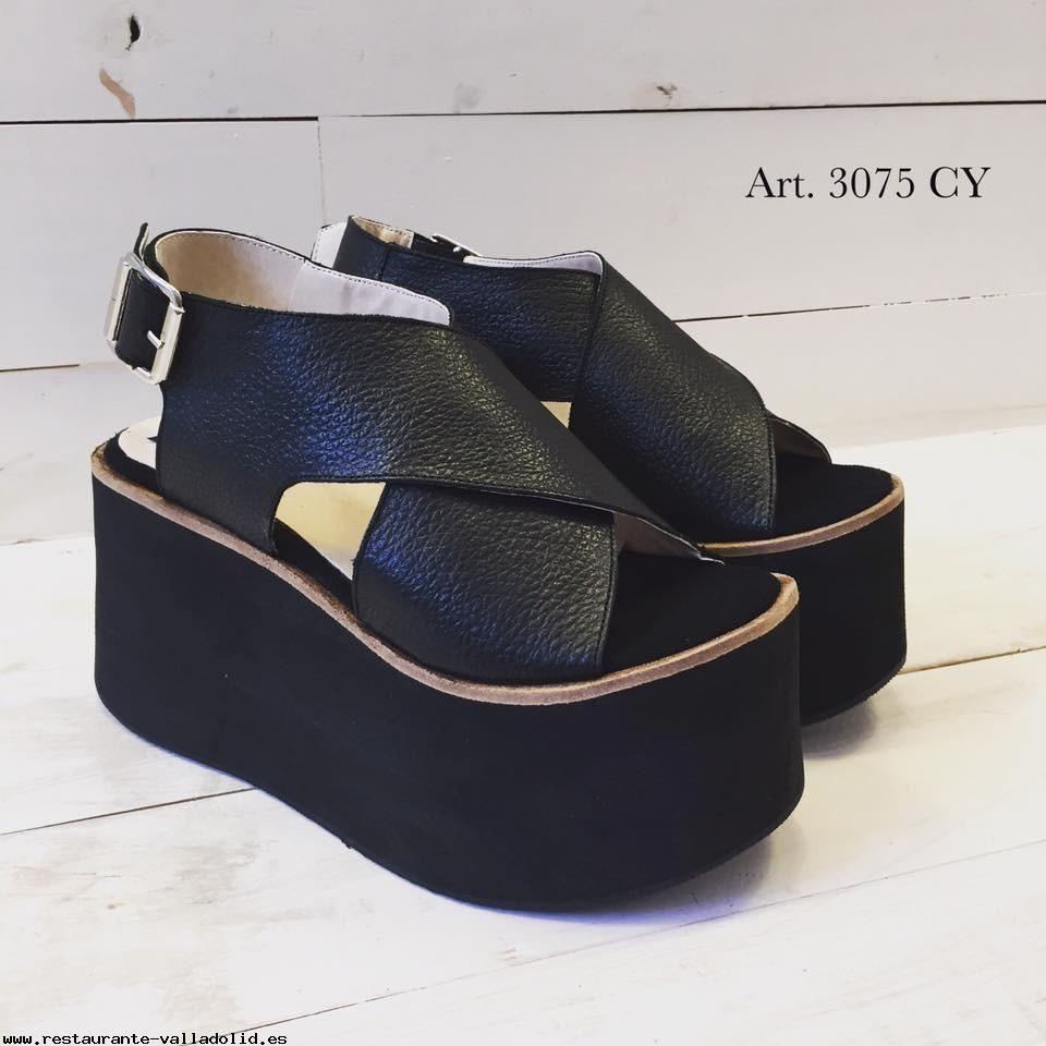 c69f726a Sandalias Plataformas Cuero Negro 3075c Morr Zapatos Auténtica T4KU781BS