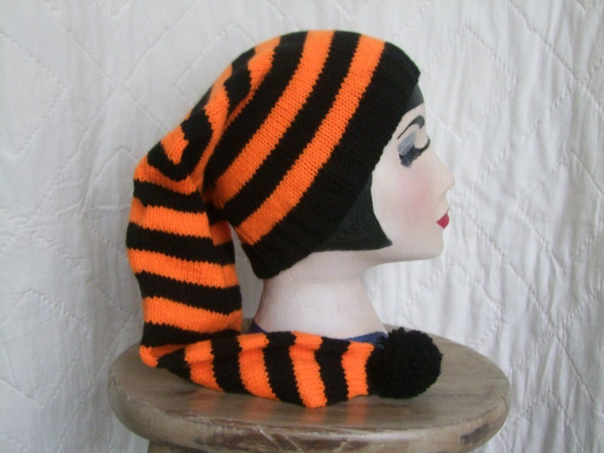 Halloween costumes :Halloween pixie hat. Fun and practical - stay warm whilst trick or treating.One of a kind design available from www.liliwenfachknits.co.uk