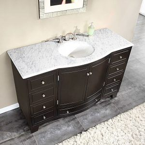 Beau Silkroad Exclusive Carrara White Marble Stone Top Bathroom Single Sink  Cabinet Vanity   Overstock™ Shopping   Great Deals On Silkroad Exclusive  Bathroom ...