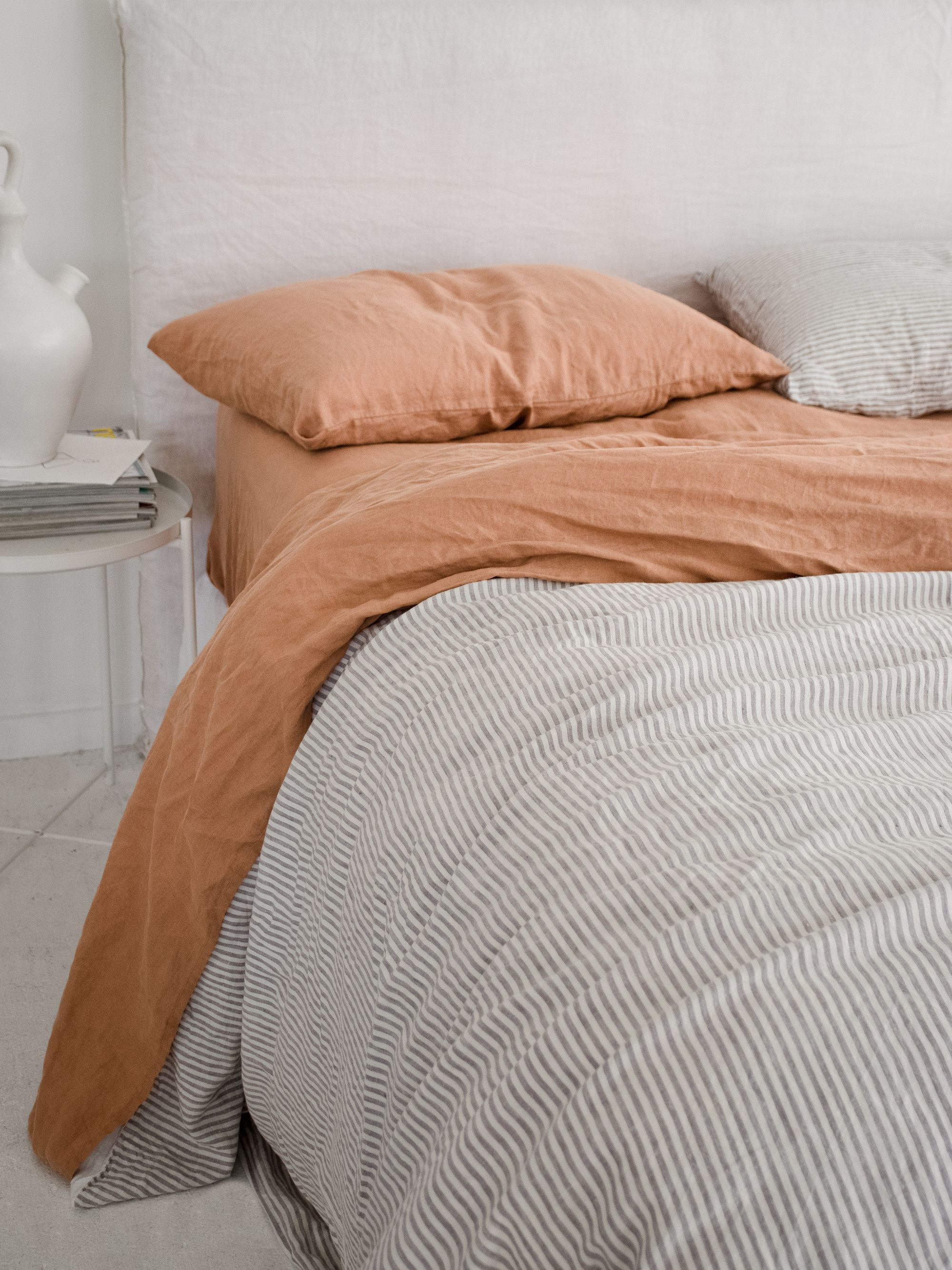 Beige Gingham French Linen Bedding In 2020 Pure Linen Bedding Dreamy Bedrooms Linen Sheets