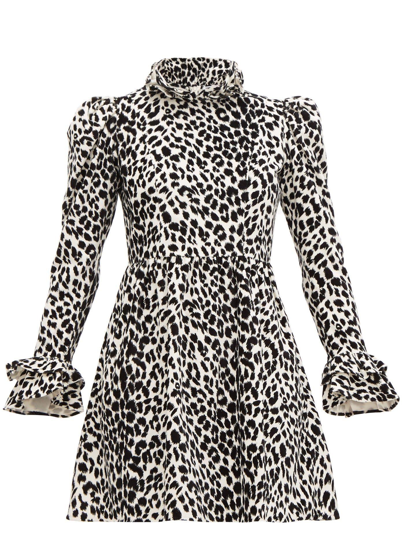 Batsheva Leopard Print Ruffled Cotton Velvet Dress Batsheva Cloth Womens Velvet Dresses Mini Velvet Dress Velvet Dress [ 1854 x 1391 Pixel ]