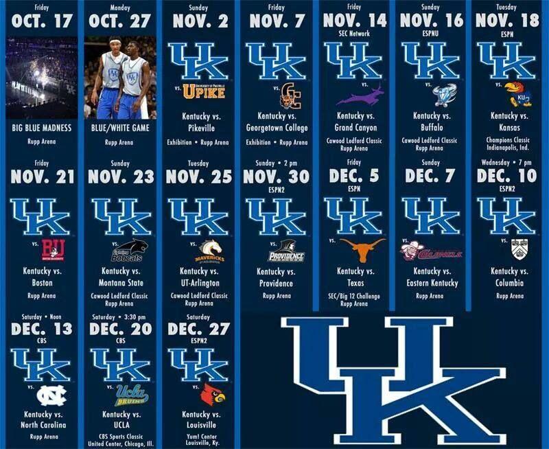 Kentucky Wildcats 2014-2015 schedule   C-A-T-S... Cats ...