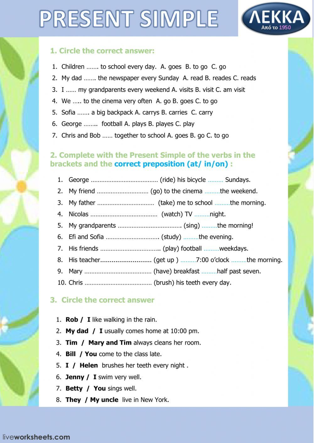Present Simple interactive and downloadable worksheet. You can do the  exercis…   English worksheets for kids [ 1413 x 1000 Pixel ]