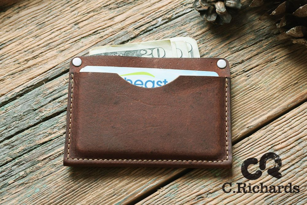 Leather card holder, minimalist wallet, personalized monogrammed ...