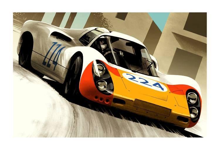 Vintage Porsche World Record Motor Racing Poster A3//A4