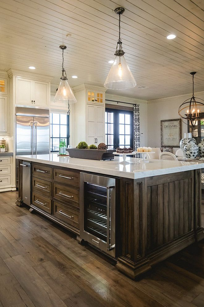 Island Stain Color. Kitchen Island And Hood Features A