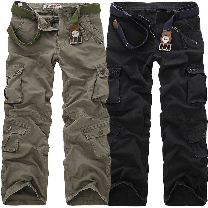 6bf15dfca9b23 2019 High Quality Men's Cargo Pants Casual Loose Multi Pocket Military Pants  Long Trousers for Men Camo Joggers Plus Size 28-40