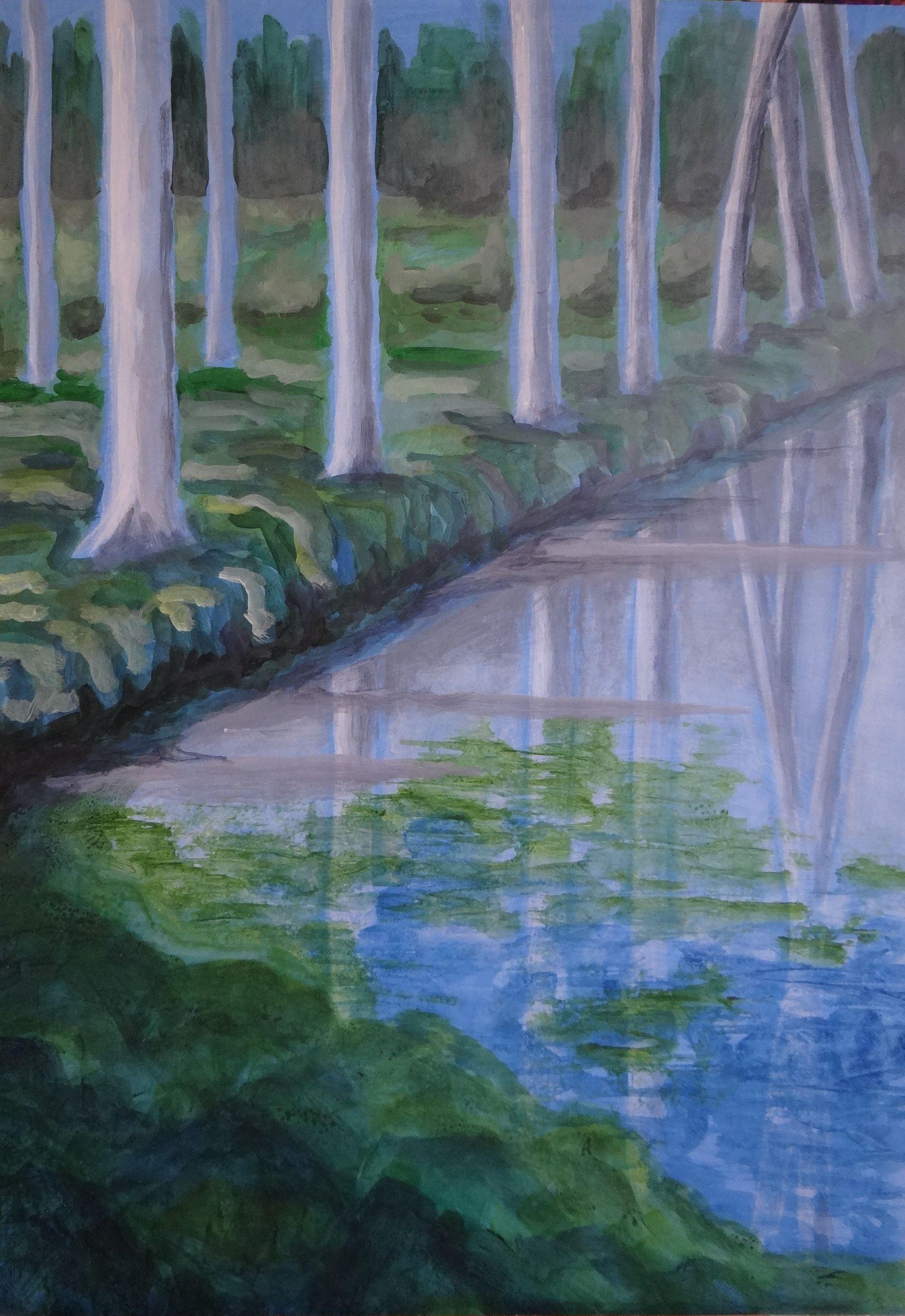 Bomen spiegeling blauw/groen acryl op papier op mdf 50x70