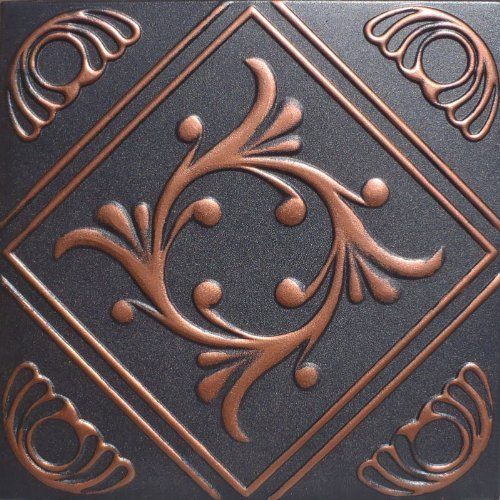 """Anet Accent Copper Black (20x20"""" Pvc) Ceiling Tile by Antique Ceilings. $11.85. For Glue-on or Nail-on Installation. Tin like look from a modern material. Easy to cut. High quality PVC matterial. Can be painted with most any water or latex based paints. These ceiling tiles are finished in antique design and are made of uniform Plastic. With this technology, it is possible to obtain smooth and even surface. They will give your ceiling an extremely attractive look. Additi..."""