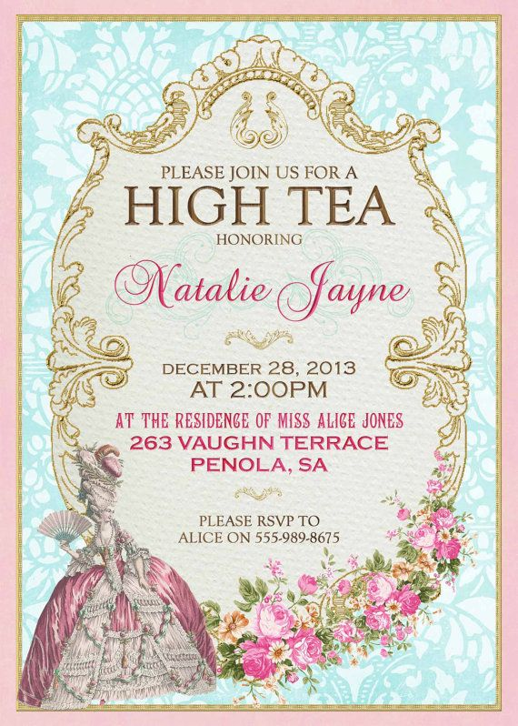 Marie Antoinette High Tea Invitation French by WestminsterPaperCo.