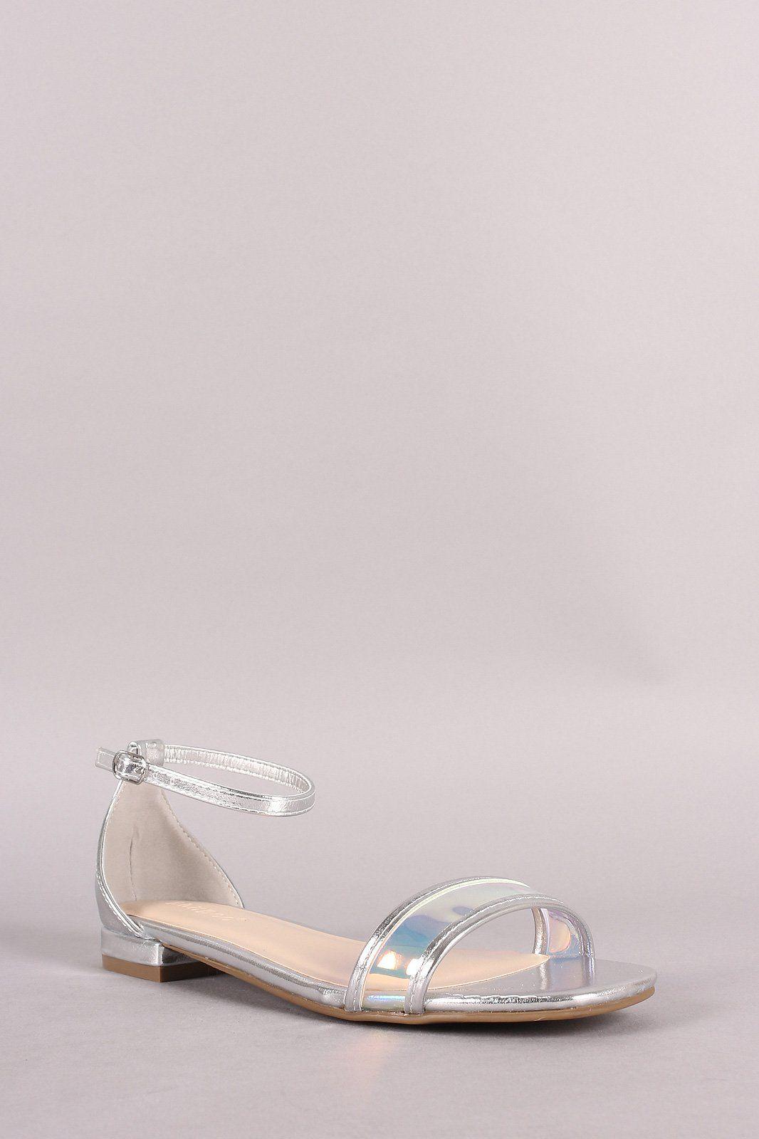 1d6fc1ccf53 Bamboo Holographic Open Toe Flat Sandal