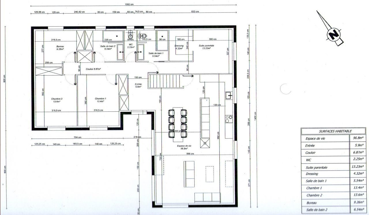 Photo plan de maison en l 3 chambres 1 bureau maison for Plan maison 3 faces