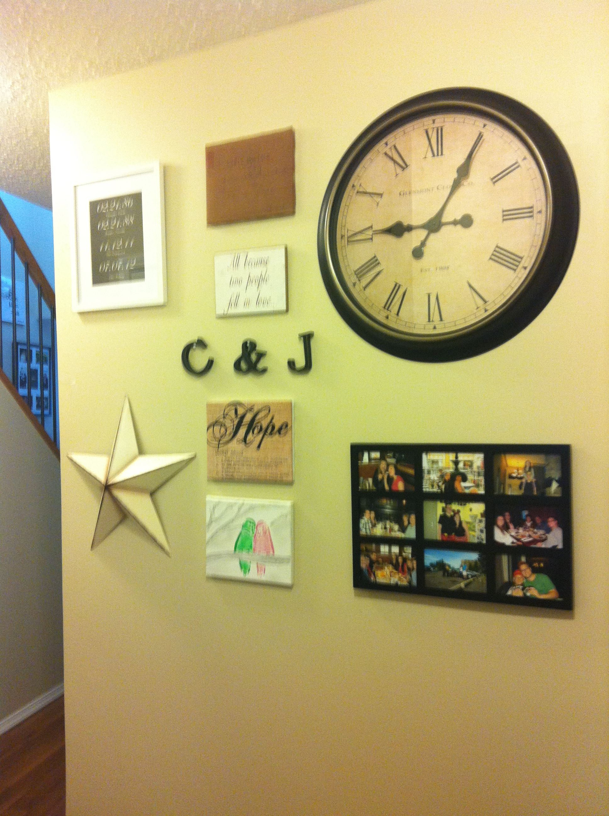 Wall collage with giant clock | Apartment Life | Pinterest | Wall ...