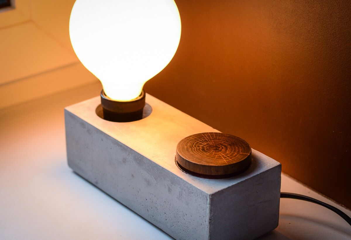 Concrete Edison Dimmer Lamp Block255 Handmade Dimmer Bedside Etsy Concrete Lamp Plug In Wall Lamp Lamp
