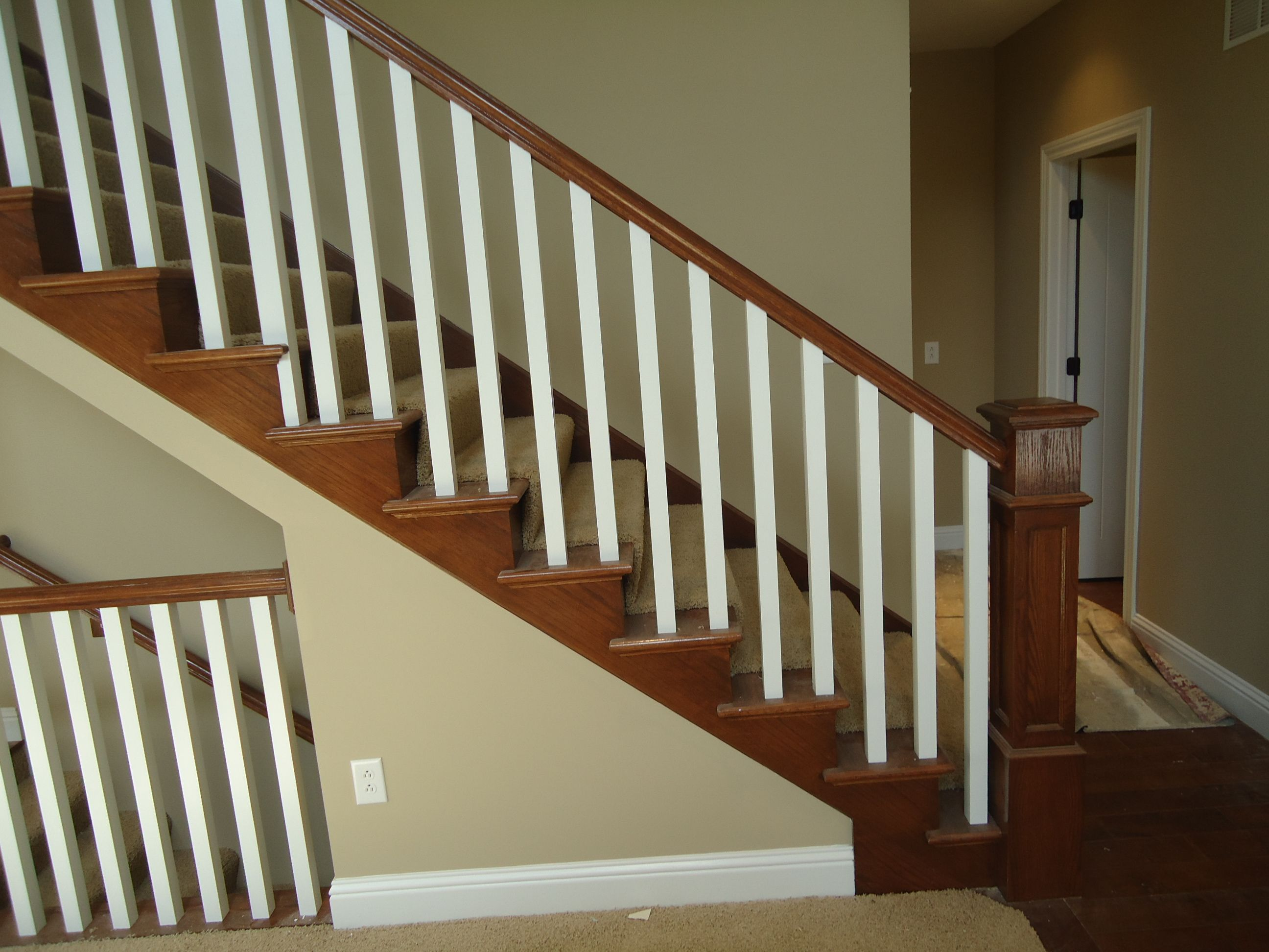 Best Large Box Newel Posts With Simple Painted Square Spindles 400 x 300