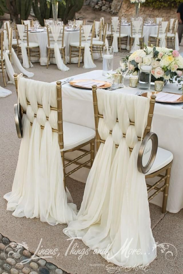 Beautiful Off White Woven Fabric Chair Back Decor For Bride And