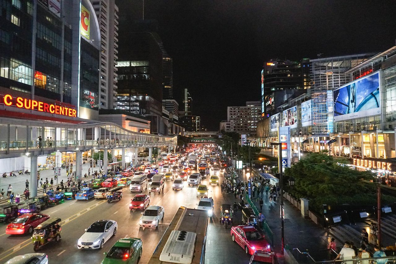 Busy streets of Bangkok, Thailand. Thailand travel