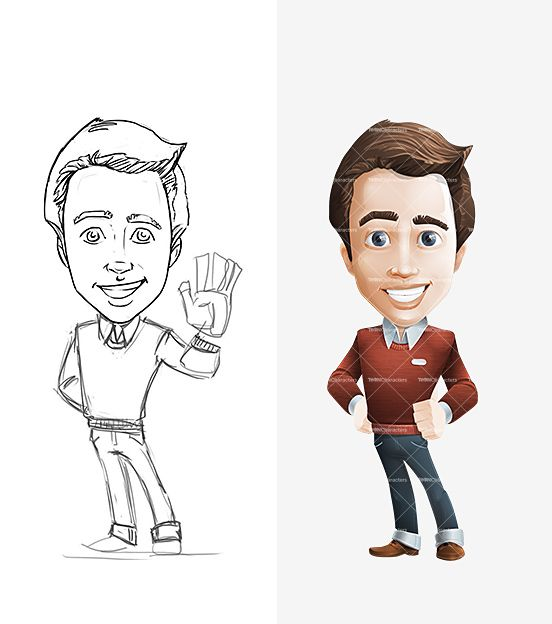 Cartoon Characters Male : Smart businessman cartoon character characters