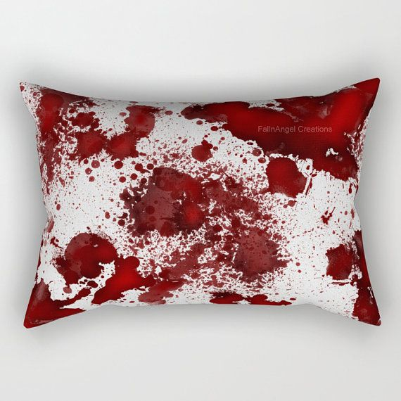 Pillow with blood spots on pillowcase