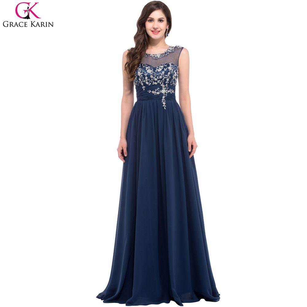 Long navy blue bridesmaid dresses grace karin chiffon formal gowns cheap dress patern buy quality dress pin directly from china dress barn dress suppliers long navy blue bridesmaid dresses grace karin chiffon formal gowns ombrellifo Gallery