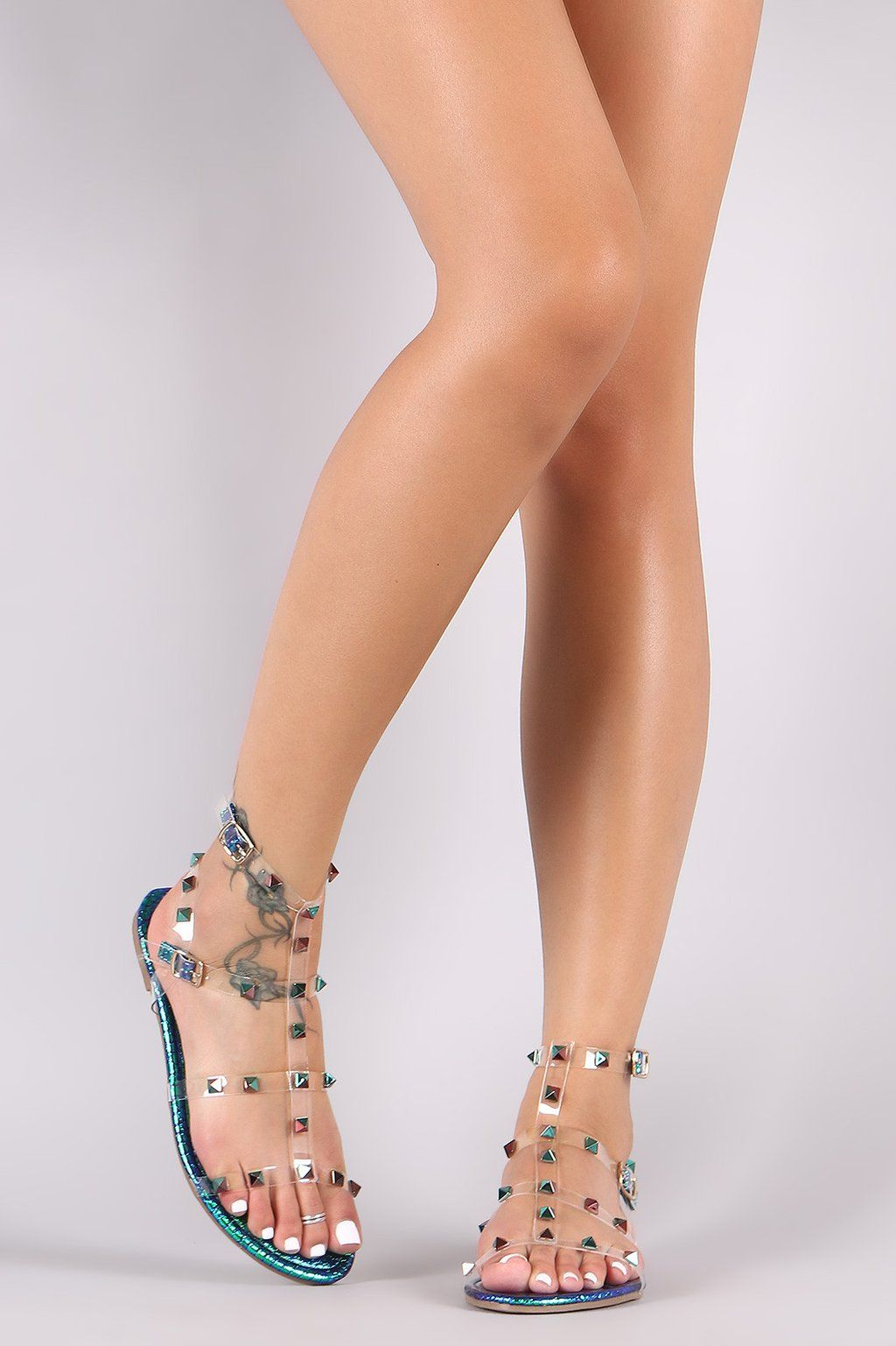 9effd5079c9 Liliana Holographic Snake Lucite Studded Cage Flat Sandal - Avenue of Angels