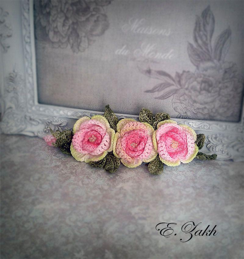 Crochet flower headband. pink rose.flowers.100% cotton.Hair accessories. Vintage hair flowers