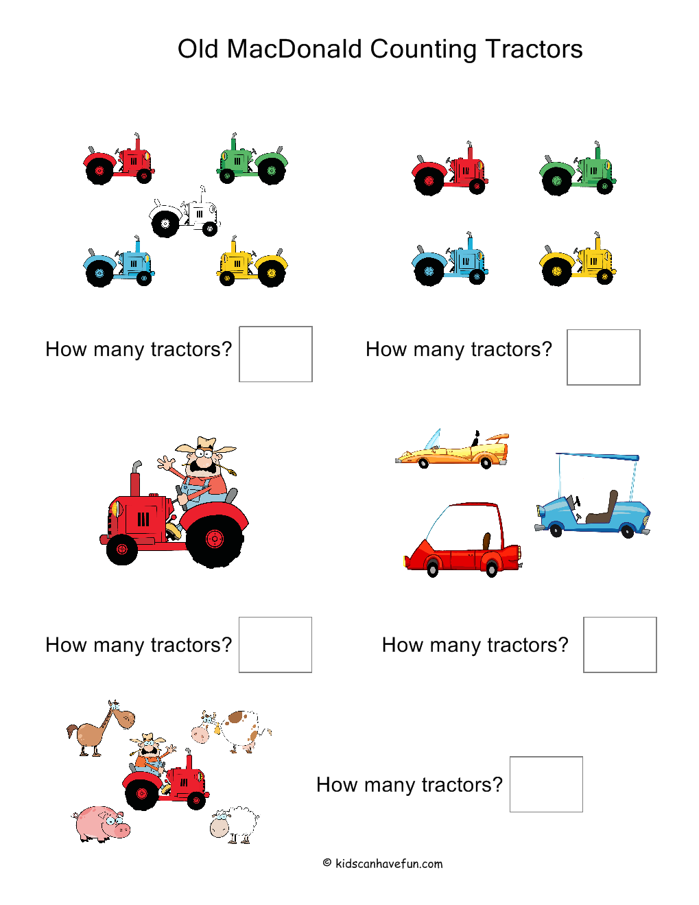 Old MacDonald Counting Tractors Worksheet http://www.kidscanhavefun ...
