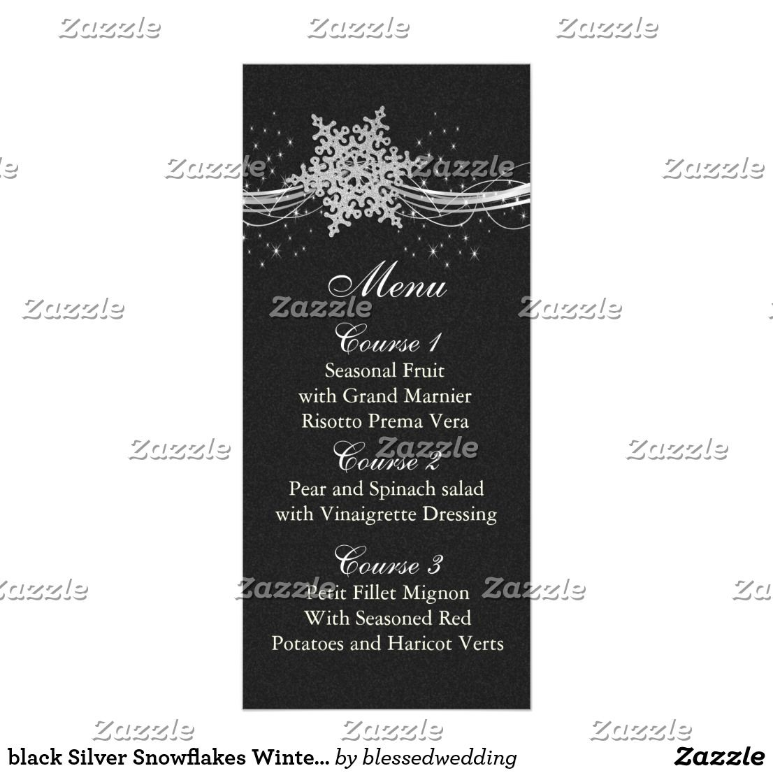 Black Silver Snowflakes Winter Wedding Menu Cards Wedding Menu