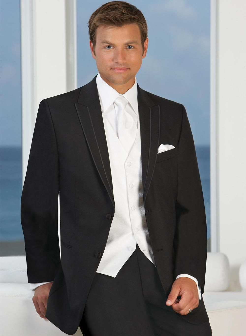 Click to Buy << High Quality Two Button Black Groom Tuxedos ...