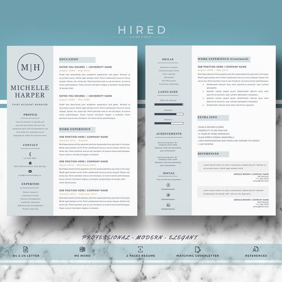 Professional And Modern Resume Template For Word  Creative Resume