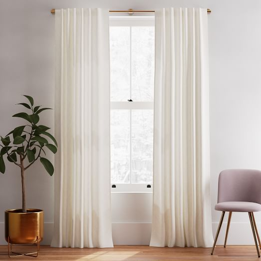 Linen Cotton Curtain Stone White In 2020 Lined Curtains White Paneling Floor To Ceiling Curtains