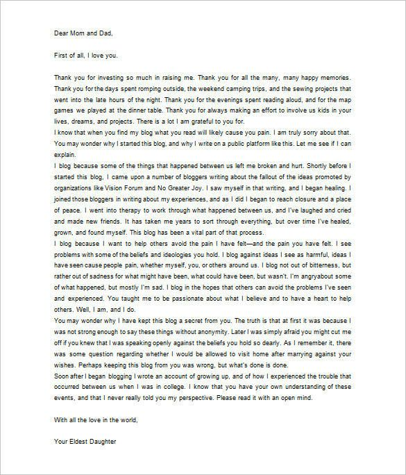 Thank You Letter Parents Free Sample Example Format Actual Written