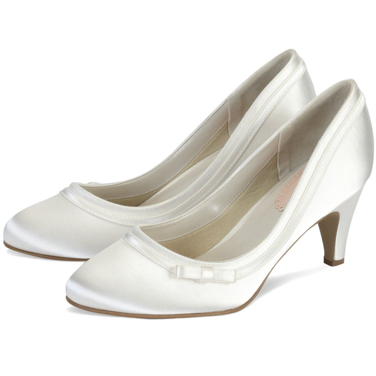 Dahlia By Pink For Paradox London Ivory Or White Dyeable Low Heel Vintage Wedding Occasion Shoes Vegan Shoe Style