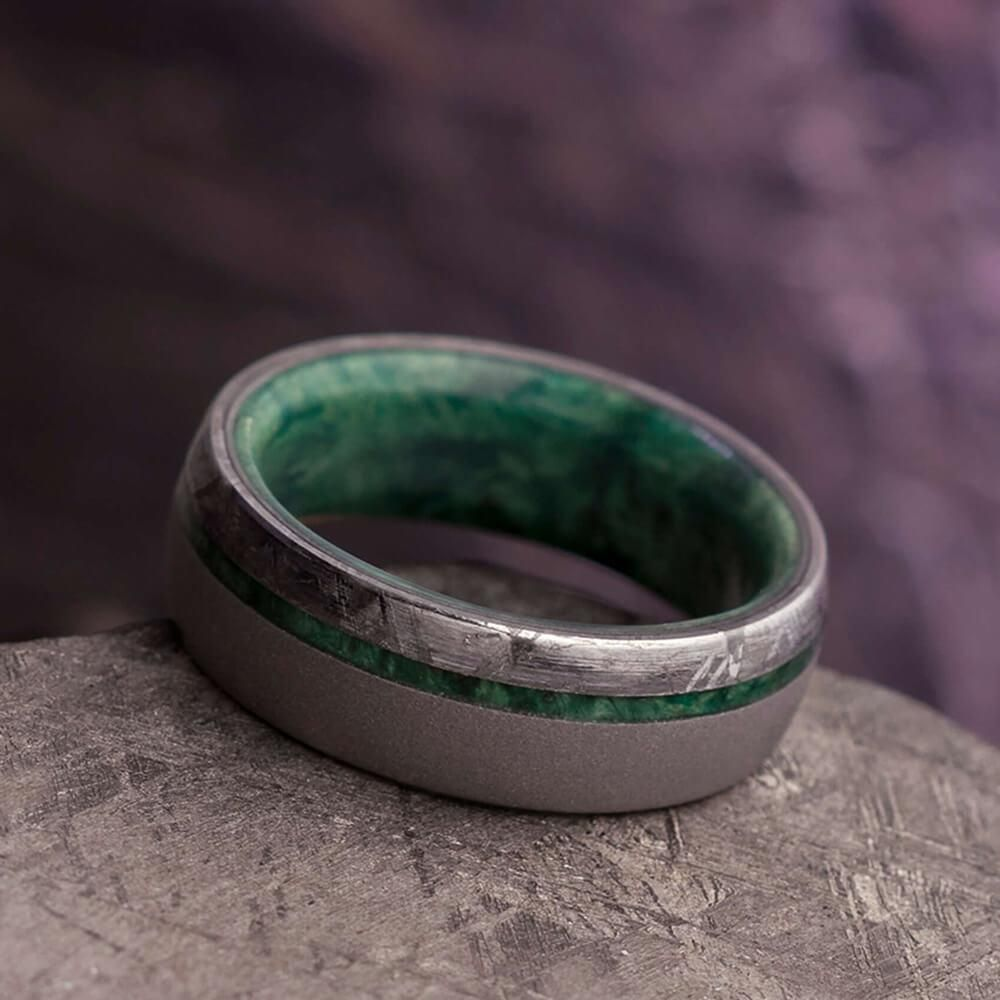 Sandblasted Men S Wedding Band With Green Box Elder Wood And Meteorite 3858 In 2020 Mens Wedding Rings Mens Wedding Bands Topaz Engagement Ring