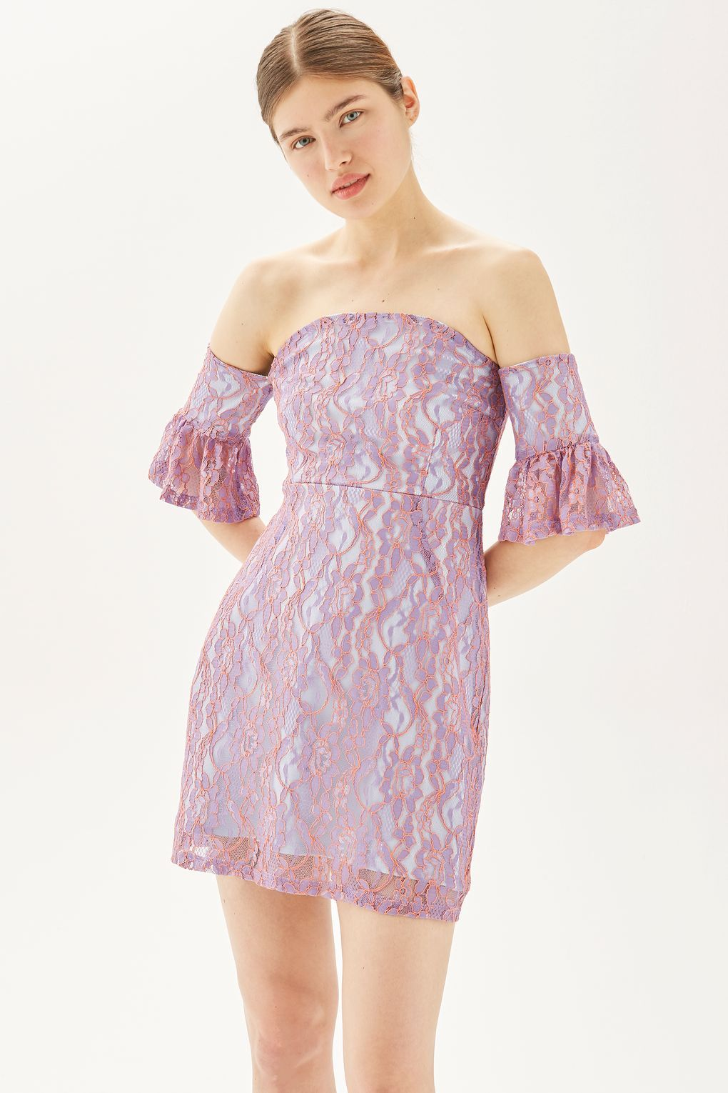 Pink dress topshop  Lace Flute Sleeve Bardot Dress  New In Fashion  New In  Bardot