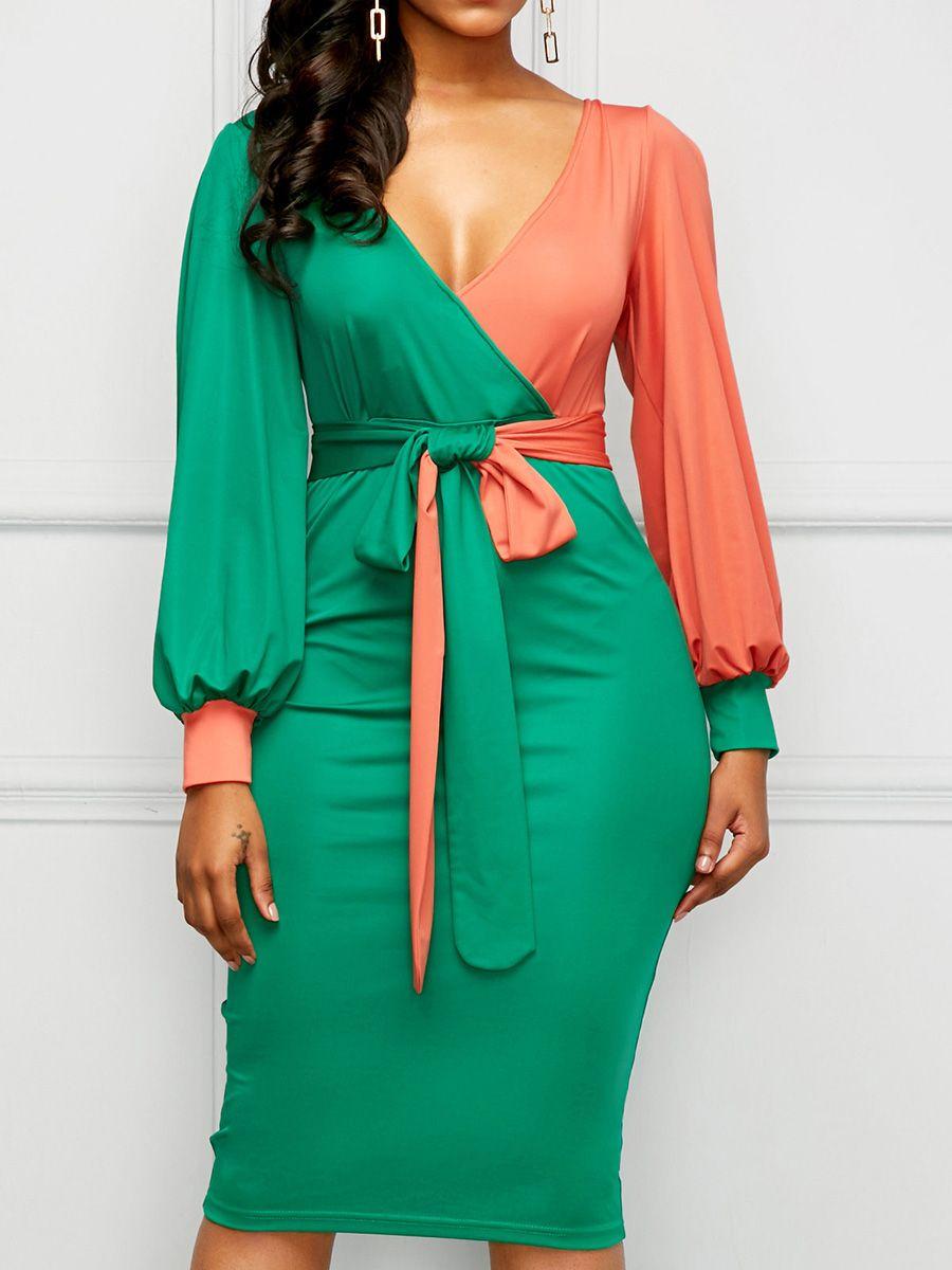 Green lace up dress  Green Lace up Lantern Sleeve Womenus Bodycon Dress  Bodycon dress