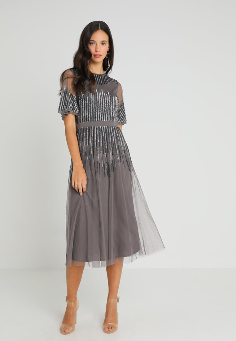 Maya Deluxe Embellished Midi Dress With High Neck Robe De Soiree Charcoal Zalando Fr Robe De Soiree Idees Vestimentaires